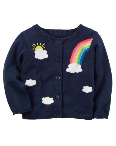 Carter/'s Infant Girls/' Navy Rainbow Cardigan Sweater NWT sweaters layering