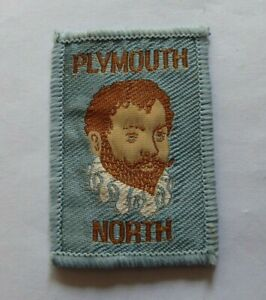 Vintage Scouts cloth badge, Plymouth North, 2.1 x 1.5 inches, good condition.