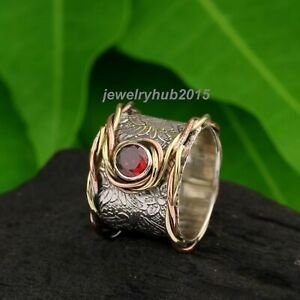 Garnet-Solid-925-Sterling-Silver-Band-Ring-Meditation-Ring-statement-Ring-133