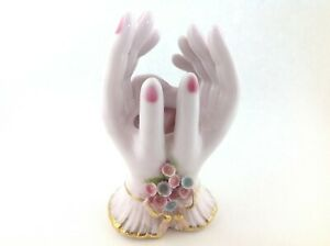 Vintage-Lefton-Two-Hands-Vase-with-Flowers-and-Pink-Nails-Gold-Trim