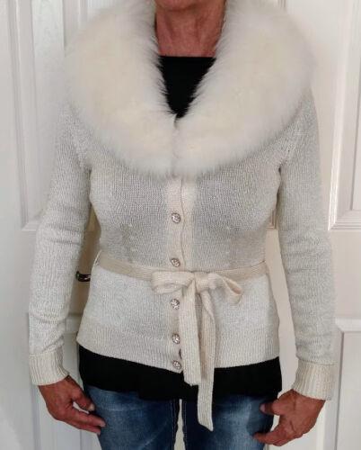 Buchmann Ivory Misses volpe pelliccia staccabile Jacket Sweater colletto Dana Piccola di con 5Txdqwn