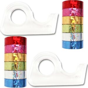 14Pc Metallic FOIL TAPE ROLLS /& DISPENSER SET Craft//Scrapbook//Card Decoration