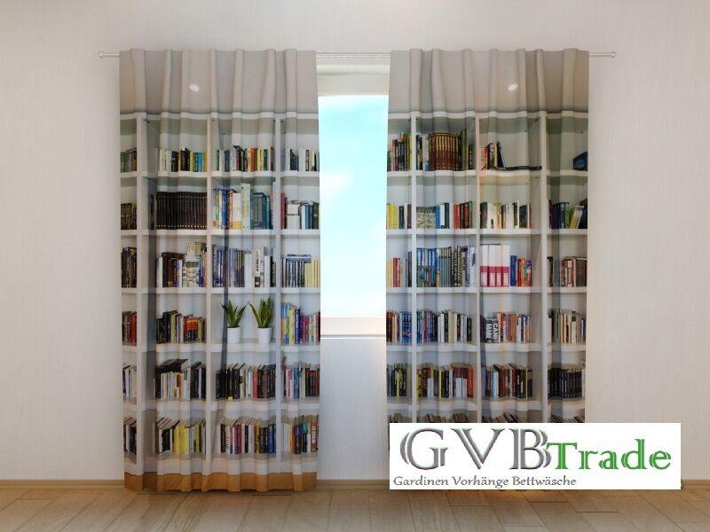 Fotogardine  Bücherregal  Fotovorhang Vorhang Gardine Motiv 3D Qualität, auf Maß | Sorgfältig ausgewählte Materialien  | Haben Wir Lob Von Kunden Gewonnen