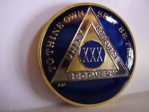 AA Blue Gold 18 Year Coin Tri-Plate Alcoholics Anonymous Medallion Sobriety Chip