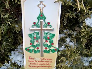 Image Is Loading Religious Christmas Tree Cross Metal Ornament W Card