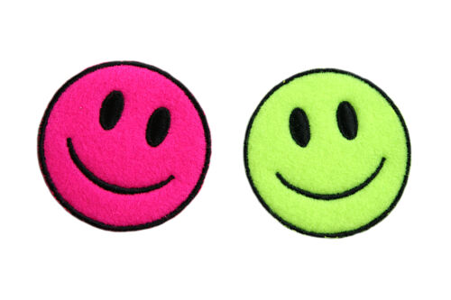 """Lily 2 PCS 2.25/"""" Neon Green Pink Self Adhesive Iron On Applique Sticker Patch"""