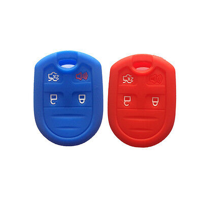 Ezzy Auto Black and Navy Blue Silicone Key Fob Case Covers Smart Key Case Shell Key Protector Key Jacket For Lincoln Ford 5 Buttons