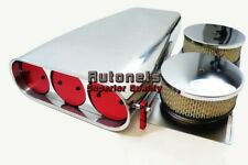 Polish Aluminum 4BBL Smooth Red Butterfly Hood Air Scoop Street Rod Bug Catcher