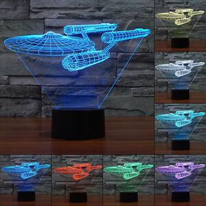 Romantic Star Trek USS 3D Night Light LED Bedroom Desk Table Lamp Touch Switch!