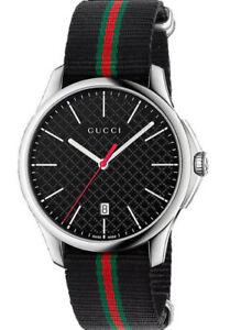 e10b20ceabd New Gucci G-Timeless Black Dial Steel Striped Nylon Strap YA126321 ...
