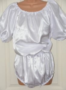 FI 207 - Super double satin silky sissy rompers   teddy, BN, XL, white