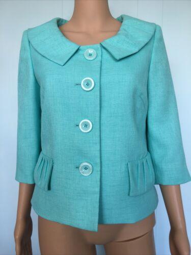 Le Suit Light Blue Linen Suit Top Size 8 - image 1