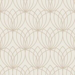 Lotus-Papier-Peint-Geometrique-Dore-Creme-Muriva-148502-Metallique