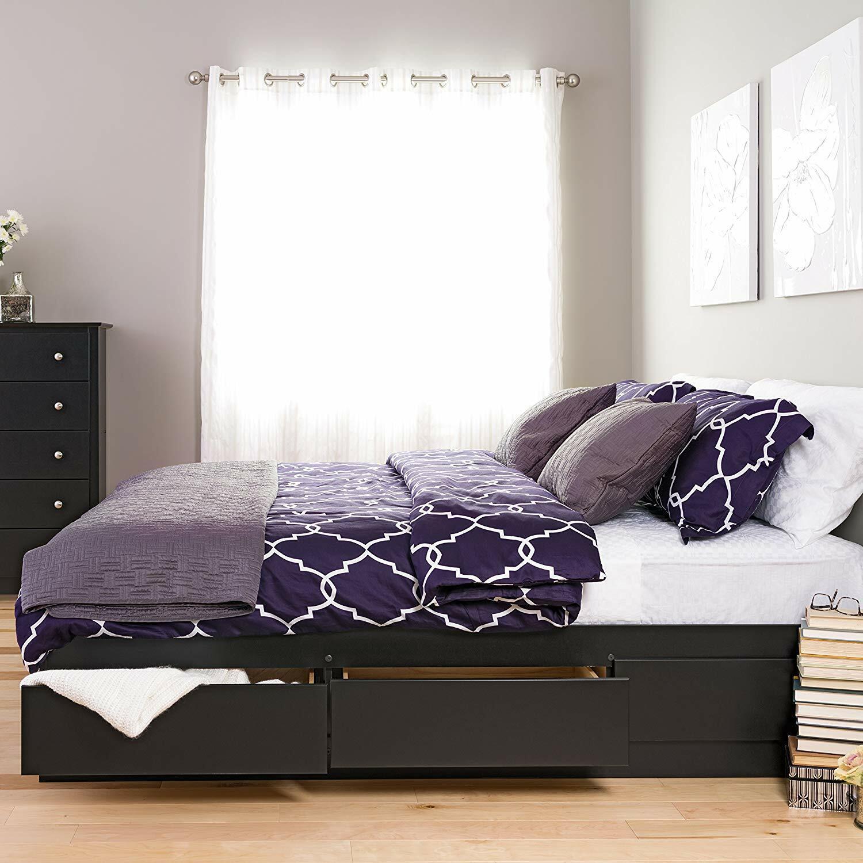 Platform Storage Bed King Size Drawers Frame Bookcase Headboard Modern Wood New