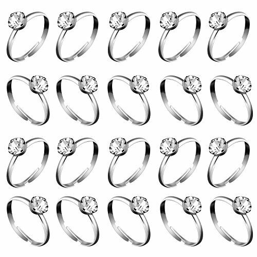 Whaline 36 Paquete De Plata Anillos de compromiso de diamante para Decoraciones de Boda de Mesa p
