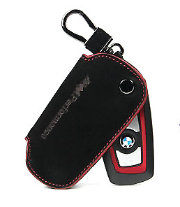1x Black Matte Leather Key Chian Keychain Keyring Holder For BMW M Performance
