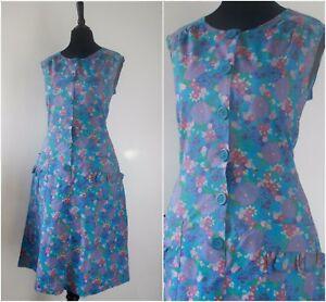 Vintage-1960s-Floral-Dress-RETRO-Summer-Hippy-Blue-Button-Up-Mod-Dress-10-12