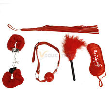 5Pcs Restraint Bondage Set Kit Cuffs Strap Whip Adult Sex Toy SM Set Couple Red