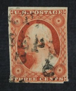 CKStamps-US-Stamps-Collection-Scott-10A-3c-Washington-Used
