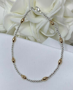 Silver-and-14k-Yellow-Gold-Bracelet-Ankle-Bracelet-2950-Plus-Sizes-Available