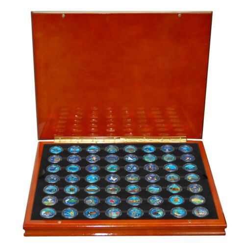 1999-2009 Complete Set of 50 Colorized State and 6 Territorial Quarters in Box