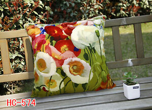Elegant Square Velvet Pillow Cushion Cover Floral Poppy Double Sides