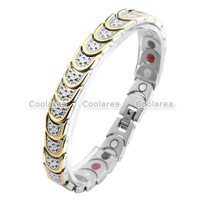4 in 1 Gold Steel Magnetic Energy Germanium Men's Therapy Health Bracelet 8.5''
