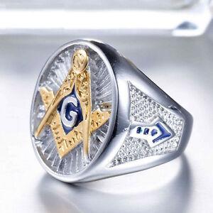 MEN'S GOLD & SILVER TITANIUM STEEL MASONIC LODGE FREEMASON RING SIZE 7-13