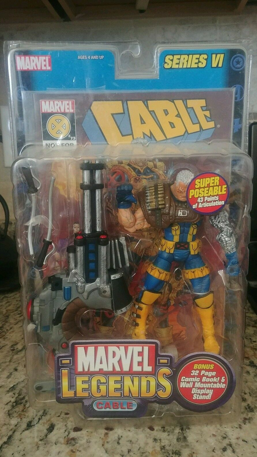 Marvel Legends Cable Series 6 VI MINT VHTF Blau Gelb JIM LEE XMEN COSTUME