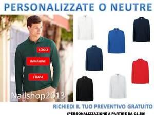 Maglietta Polo Uomo Da Lavoro Manica Lunga cotone 100% Fruit Of The Loom t-shirt