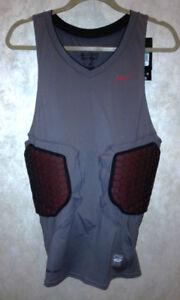 5bdd597f NIKE Pro Combat Deflex Padded Grey Red Basketball Compression Shirt ...