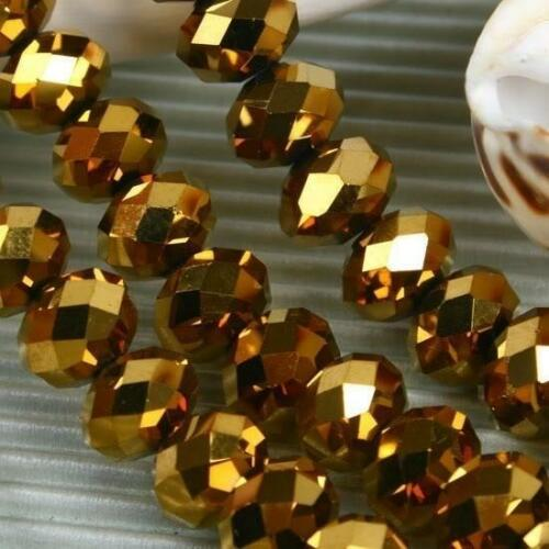 5x8mm 72pcs Gold Gemstone Crystal Loose Bead