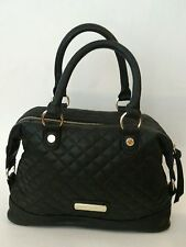 Steve Madden Black Quilted Satchel Purse - Double Handles Handbag - Gold Tone