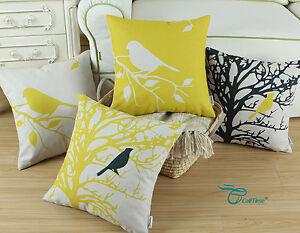 Image Is Loading Yellow Cushion Covers Pillows Shells Animal Bird Tree