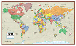 World Contemporary Elite Wall Map Mural Poster Paper Laminated or
