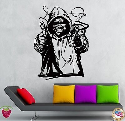 Wall Stickers Vinyl Decal Shooting Gangster Tough Guy Killer With Gun  (z2120)