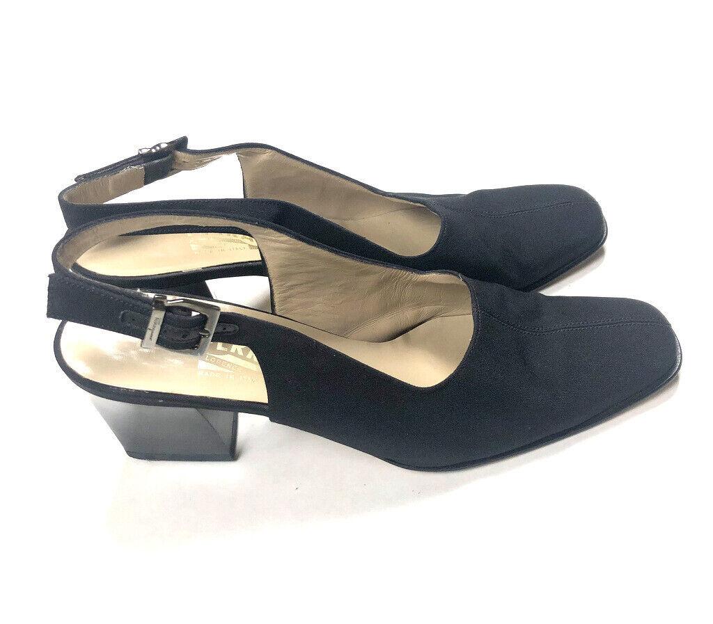 Salvatore Ferragamo Vintage 80s Black Nylon Slingbacks Heels 9 AA Narrow e4p
