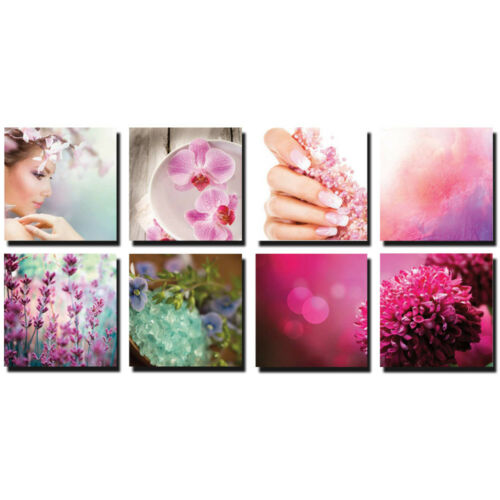 PINK 8 Pc Beauty Salon Spa Massage Decal Decoration 24 x 24 Canvas Mural CM-TMP