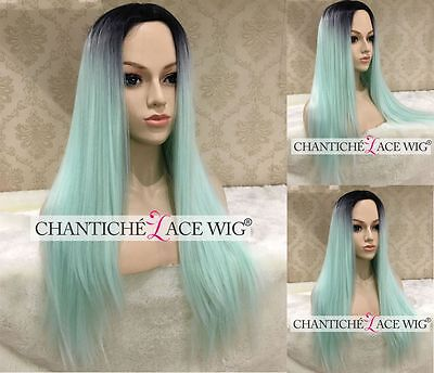 Ombre Synthetic Hair None Lace Full Wigs Light Green Straight Wig Heat Safe UK
