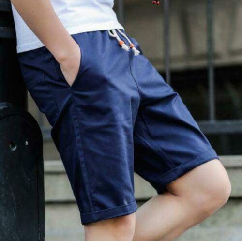 100 /%Cotton Mens Casual Pants Baggy Shorts Pockets Cargo Half Pants Trousers 2XL
