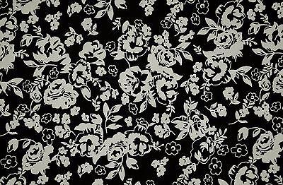 FQ Old Gold Rose Vine Flower on Black Vintage Style 100% Cotton Fabric ~Free S&H