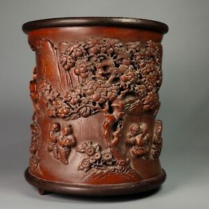 Exquisite carved Baby children playing under tree statue bamboo Pen Brush pot