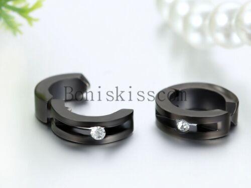 Men/'s Women/'s Stainless Steel Charm Hoop Huggie Non-Piercing Clip-on Earrings
