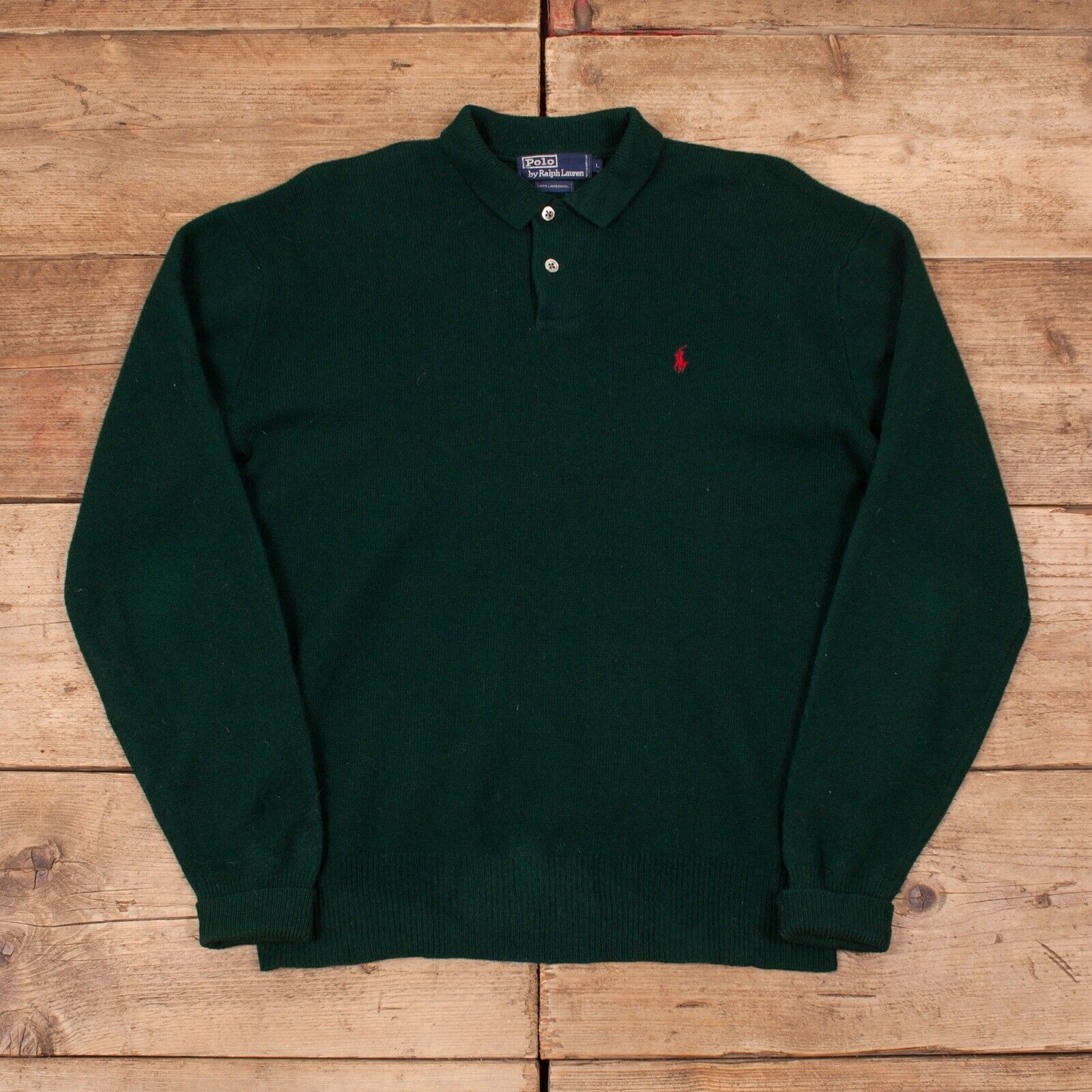 "Mens Vintage Polo Ralph Lauren Green Lambswool Sweatshirt Large 42"" R11756"