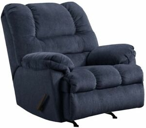 Image Is Loading LARGE Blue Oversized Rocker Recliner Arm Chair Recliners