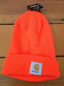 New NWT Carhartt Knit Safety Neon Bright Orange Hunters Ski Hat One ... 00e4793fcee