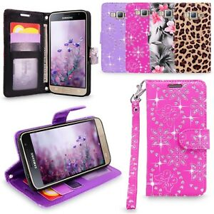For-Samsung-Galaxy-J3-Amp-Prime-2016-PU-Leather-Wallet-Flip-Stand-Case-Cover