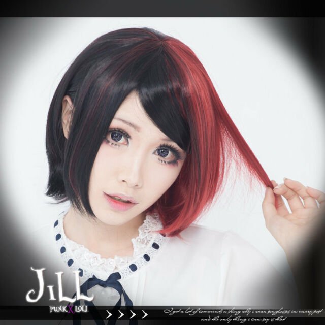 japan anime cosplay RWBY harajuku kei red highlight side part bob wig JPLH061