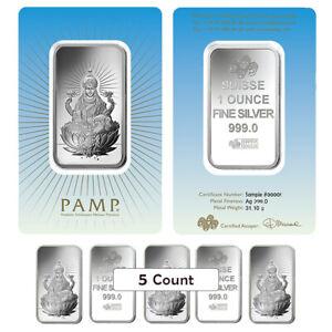 Lot-of-5-1-oz-PAMP-Suisse-Silver-Bar-Lakshmi-In-Assay-999-Fine