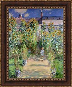 Image Is Loading Claude Monet Monet Garden At Vetheuil Framed Canvas